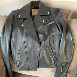 MAJE Black Leather Biker Jacket
